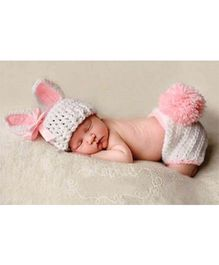 Babymoon Cap And Nappy Cover Bunny Design - White Pink