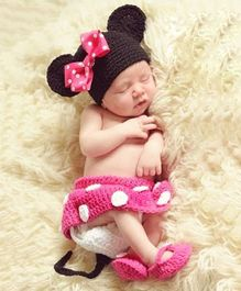 Babymoon Minnie Mouse Designer New Born Baby Photography Props Set of 4 - Pink Black