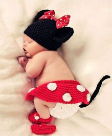 Babymoon Minnie Mouse Designer New Born Baby Photography Props Set of 4 - Red