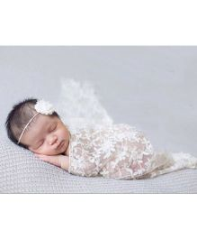 Babymoon Floral Designer Lace New Born Baby Photography Wrap - White