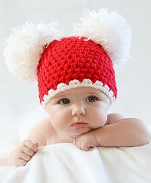 Babymoon Pom Pom Designer Cap Nre Born Baby Photpgraphy Props - Red White
