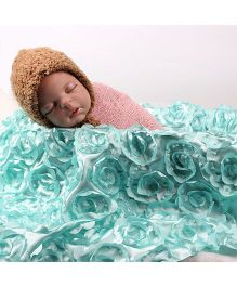 Babymoon Multi Purpose Designer Baby Photography Props Bedsheet Rose Applique - Blue