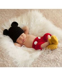 Babymoon Mickey Mouse Designer New Born Baby Photography Props Set of 3 - Black Red