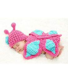 Babymoon Butterfly Wings Designer Long Tail Cap New Born Baby Photography Props - Pink Blue