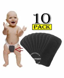 Babymoon Premium Bamboo 5 Layer Charcoal Wetfree Reusable Washable Cotton Diaper Nappy Insert Grey - Pack of 10