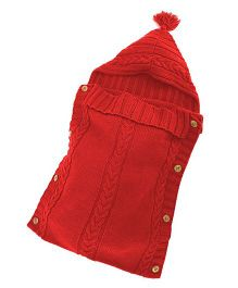 Babymoon Organic Knitted New Born Baby Sleeping Bag - Red