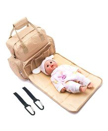 Babymoon 5 In 1 Polka Multifunctional Mother Bag Diaper Backpack Bag with Insulated Pockets - Beige