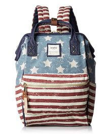 Babymoon Waterproof Diaper Bag Stripes & Stars Print Small - Blue Red