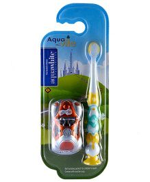 aquawhite Aqua Ville Ultra Soft Toothbrush With Car Toy - Yellow