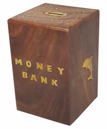 Desi Karigar Wooden Money Bank - Brown