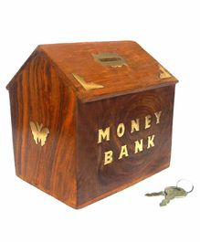 Desi Karigar Sheesham Wood Hut Shaped Money Bank - Dark Brown