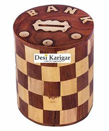 Desi Karigar Wooden Chess Style Round Money Bank - Brown