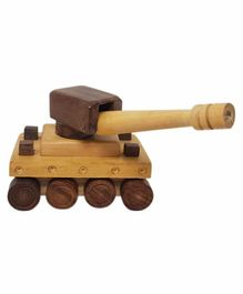 Desi Karigar Wooden War Tank Toy - Brown