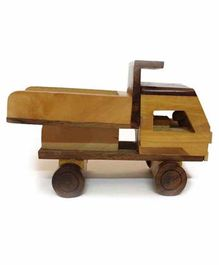 Desi Karigar Wooden Classical Dumper Truck Toy - Brown