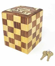 Desi Karigar Chess Style Square Wooden Money Bank - Brown