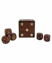 Desi Karigar Wooden Dice Set of 5 - Brown
