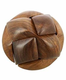 Desi Karigar Wooden Soccer Ball 3D Puzzle Game Brown - 6 Pieces
