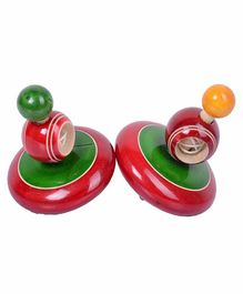 Desi Karigar Classic Wooden Windup Spinning Tops Pack of 2 - Green Red