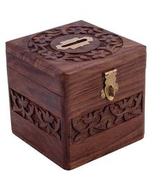 Desi Karigar Handmade Wooden Square Money Bank - Brown