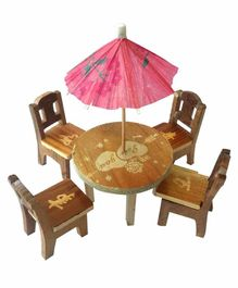 Desi Karigar Wooden Miniature Dinning Table Set - Brown