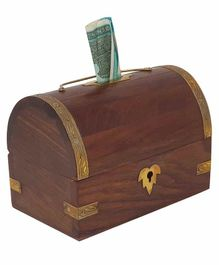Desi Karigar Handicrafted Sheesham Wooden Money Bank - Brown