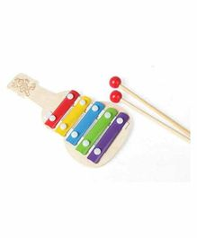 Desi Karigar Wooden Guitar Shaped Xylophone - Multicolour