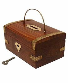 Desi Karigar Handcrafted Wooden Money Bank With Key - Brown
