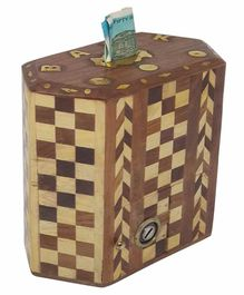 Desi Karigar Wooden Hexagon Money Bank - Brown