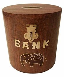 Desi Karigar Oval Shape Wooden Coin Box - Money