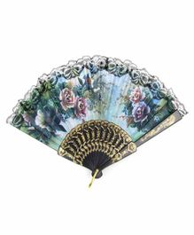Desi Karigar Floral Lace Hem Foldable Hand Fan - Blue
