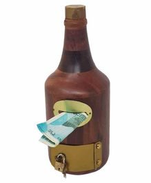 Desi Karigar Handicrafts Bottle Shape Wooden Money - Brown