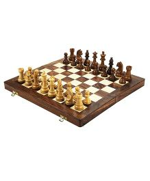 Desi Karigar Wooden Folding Chess Board Brown - 14 inches