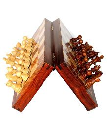 Desi Karigar Wooden Folding Magnetic Chess Board Brown - 10 inches