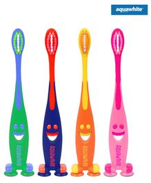 aquawhite Junior Toothbrush Smiley Design Pack of 4 (Color May Vary)