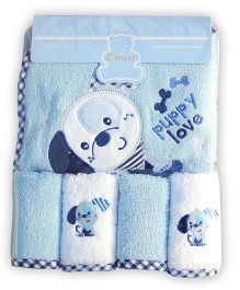 Owen Cotton Hooded Towel And Wash Cloths Puppy Design Set of 5 - Blue White