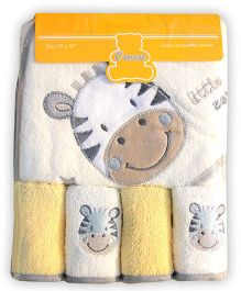 Owen Cotton Hooded Towel And Wash Cloths Zebra Design Set of 5 - Yellow White