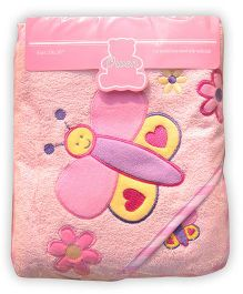 Owen Hooded Terry Towel With Wash Cloth Butterfly Design - Pink