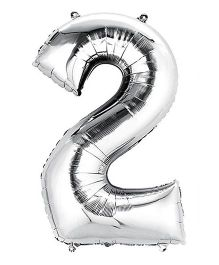 Shopperskart Helium Foil Balloon Number 2 Shape - Silver
