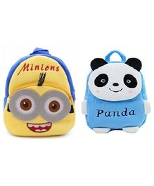 Frantic Velvet  Minion and Blue Panda Bag Multicolour Pack of 2 - 14 Inches