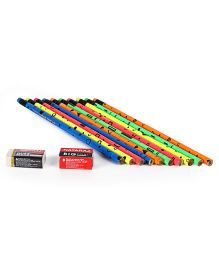 Nataraj Fluro Prints Pencil Set With Eraser & Sharpener Multicolour - 12 Pieces
