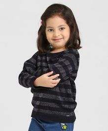 Babyoye Full Sleeves Striped Sweater - Blue Grey