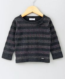 Babyoye Full Sleeves Striped Sweater - Grey