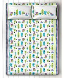 Silverlinen Silly Monsters Double Bed Sheet with Two Pillow Covers - Green & Purple
