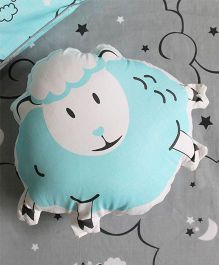 Silverlinen Counting Sheep Shape Cushion - Blue