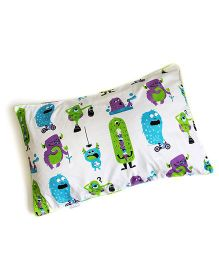 Silverlinen Silly Monsters Single Pillow Cover  - White Green