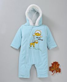 Babyhug Hooded Winter Wear Romper Giraffe Embroidered  - Aqua Blue