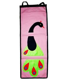 Kadambaby Kids Room Wall Organizer Peacock Applique - Pink