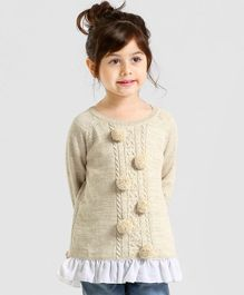 Babyoye Full Sleeves Sweater With Pom Poms - Beige