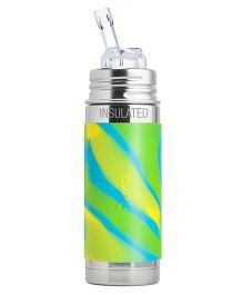 Pura Kiki Swirl Vacuum Insulated Stainless Steel Bottle With Straw Green - 260 ml