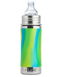 Pura Kiki Stainless Steel Bottle With Sippy Spout Green Aqua - 325 ml